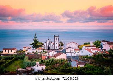 Beautiful pink stunning sunrise in a village in Nordeste, Sao Miguel Island, Azores, Portugal