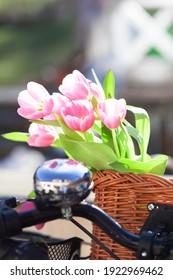 beautiful pink tulip flowers in a wickery bike basket - spring mood