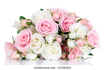 Beautiful pink and white roses isolated on white