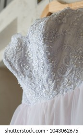 Beautiful Pinl and white wedding dress, closeup