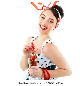 Beautiful pinup with strawberries, portrait of young happy smiling sexy woman in pin-up style, over white