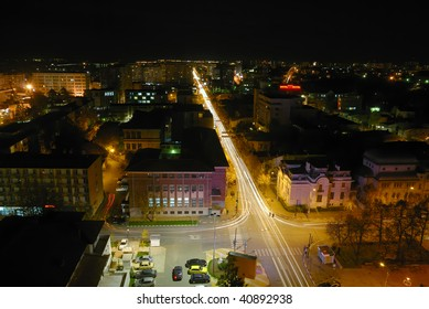 beautiful Pitesti cityscape with lights on in the night
