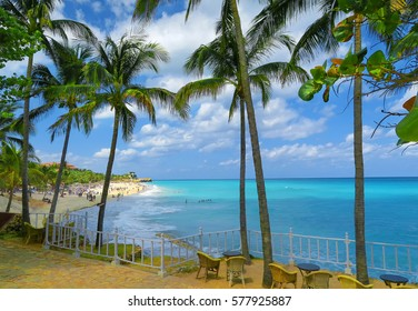 a beautiful place for chilling out on the Atlantic ocean, Varadero, Cuba, for a perfect retreat and meditation, with azure waters of the sea and blue sky and white clouds