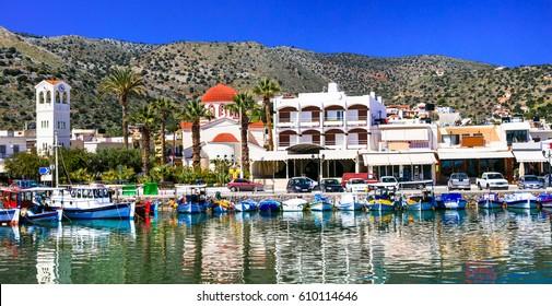 Beautiful places of Crete island - pictorial fishing village Elounda. Greece