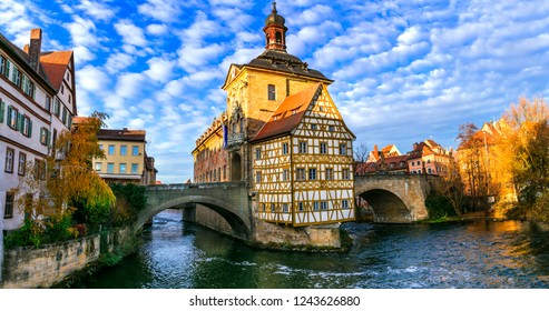 Beautiful places of Germany- Bamberg in Bavaria. View with townhall in traditional half-timbered style