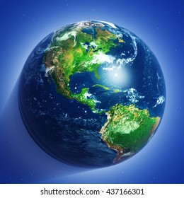 beautiful planet earth in close-up, 3D rendering
