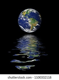 A beautiful planet Earth with a water reflection. Image elements furnished by NASA