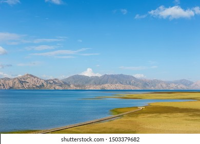 beautiful plateau lake landscape in three river sources core region,maduo county, guoluo tibetan autonomous prefecture, qinghai province, China