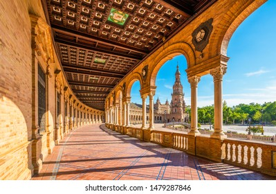 The beautiful Plaza de Espana in Seville. Andalusia, Spain.