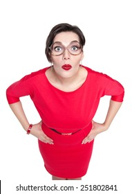 Beautiful plus size woman in glasses looking on you isolated. Top view