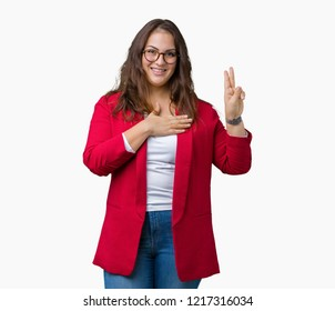 Beautiful plus size young business woman wearing elegant jacket and glasses over isolated background Swearing with hand on chest and fingers, making a loyalty promise oath