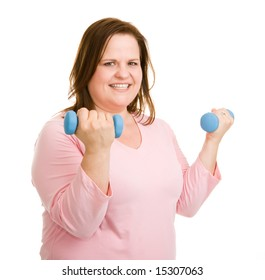 Beautiful plus-sized model working out with free weights.  Isolated on white.