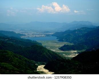 beautiful pokhara city and phewa lake from top of a mountain