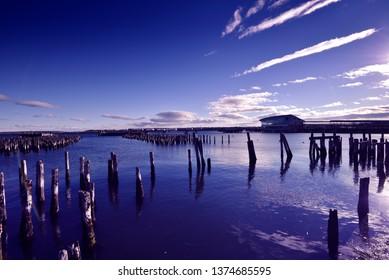 Beautiful Poland Maine harbor at subset