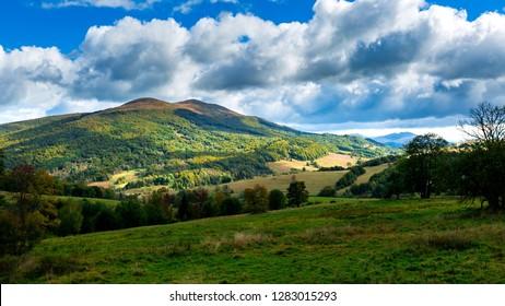 Beautiful polonina Carynska mountain in Bieszczady mountains in Poland. Autumn mountain landscape.
