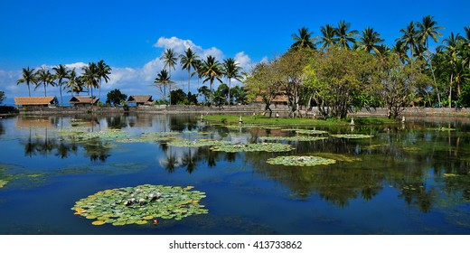 Beautiful pond in Candidasa, Bali, Indonesia