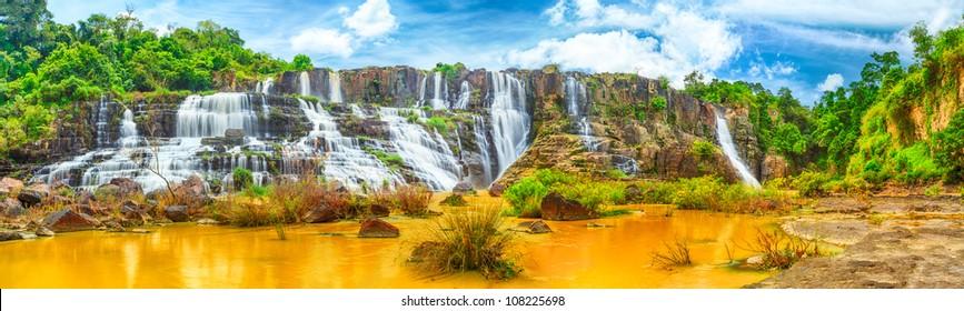 Beautiful Pongour waterfall in Vietnam. Panorama