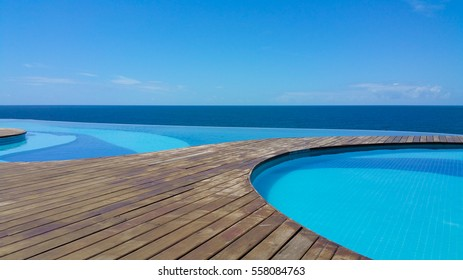 Beautiful Pool With Infinity Edge In Day Of Sun And Sea And Blue