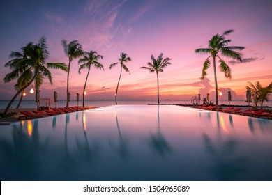 Beautiful poolside and sunset sky. Luxurious tropical beach landscape, deck chairs and loungers and water reflection. Palm trees reflection, amazing luxury summer beach landscape. Beach sunset