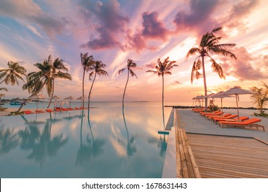Beautiful poolside and sunset sky with palm trees. Luxury tropical beach landscape, infinity swimming pool, deck chairs and loungers under umbrella and amazing water reflection. Vacation landscape