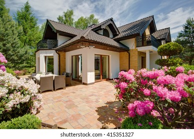 Beautiful porch at the back yard of the house