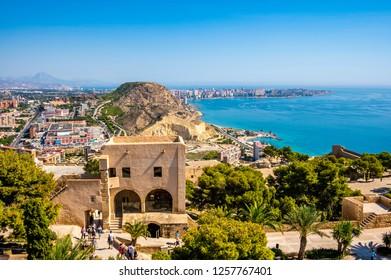 Beautiful port of Alicante, Spain at Mediterranean sea. Santa Barbara castle -panoramic aerial view at the famous touristic city in Costa Blanca, Spain, 17th september 2018