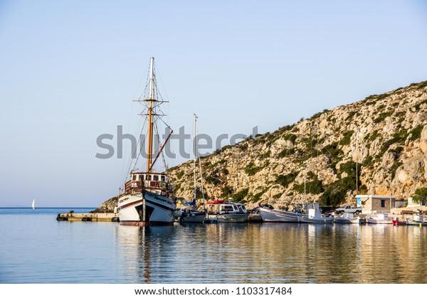 the beautiful port of iraklia in greece