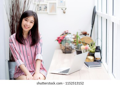 Beautiful of portrait asian young woman working online on laptop sitting at coffee shop, professional female freelancer using notebook computer with connect to internet for distance job.