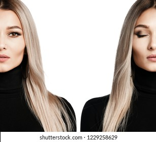 Beautiful portrait of blonde woman composition with closed and open eyes on white background