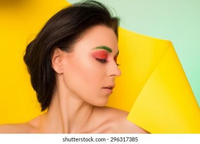 beautiful portrait. bright. model in studio