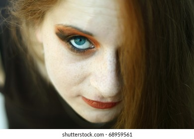 beautiful portrait of a girl with freckles
