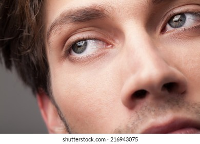 Beautiful portrait of a handsome man close up eye