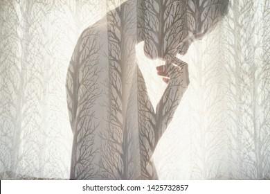 Beautiful portrait of idea double exposure