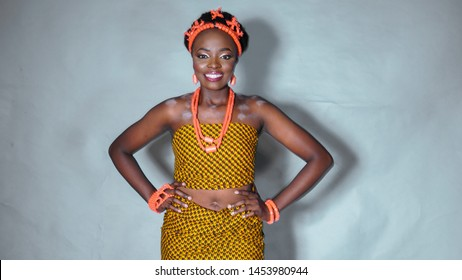Beautiful portrait of Igbo woman dressed in traditional Nigerian attire