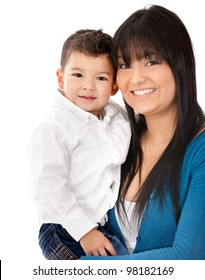 Beautiful portrait of a mother and son smiling - isolated over a white background