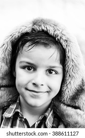 beautiful portrait of a smiling boy,black and white photography