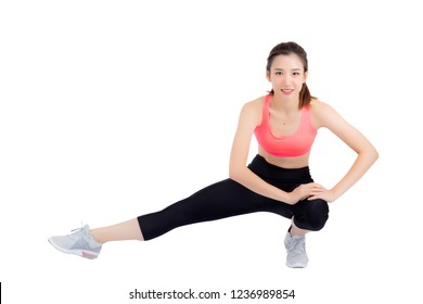 Beautiful portrait young asian woman stretching exercise isolated on white background, fitness sport girl aerobic with smile happy, female workout, health concept.