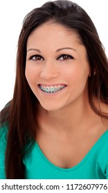 Beautiful portrait of a young girl with brackets and brown eyes