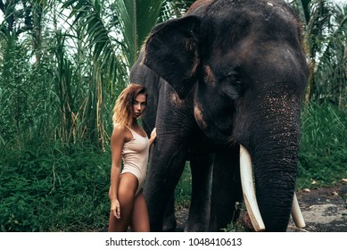Beautiful portrait of young girl hugging elephant near forest. Beautiful girl model with sporty body posing in white swimsuit. Concept of zoo, tropical photoshoot