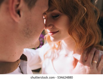 beautiful portrait of young and happy woman and man