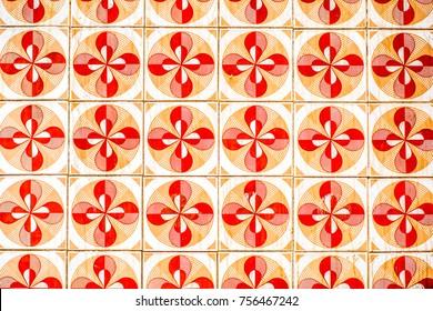 Beautiful portuguese facade tiles pattern called Azulejo