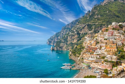 Beautiful Positano with comfortable beaches and clear blue sea on Amalfi Coast in Campania, Italy. Amalfi coast is popular travel and holyday destination in Europe.