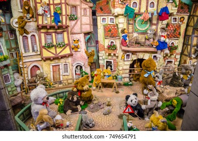 Beautiful  postcard with colorful toys