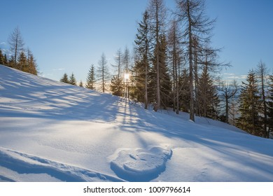 beautiful postcart natureview near artificial lake of Sauris (Lago di Sauris) in Friuli Venezia Giulia, Udine, Italy, Europe