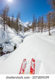 Beautiful POV ski landscape on the mountains. Powder. Rider. Ski. Skier on the mountains in powder. Mountains winter sunny day