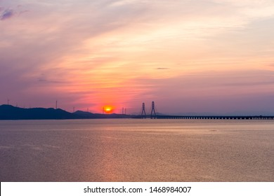 beautiful poyang lake second bridge in sunrise, jiujiang city, jiangxi province, China