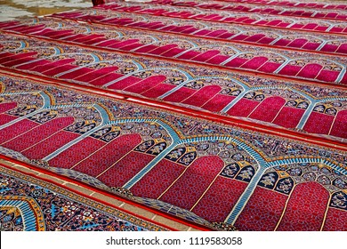 Beautiful praying carpets of the mosque in Isfahan Iran.