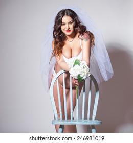 Sexy pregnant bride