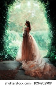 Beautiful Pregnant brunette woman in fairy long gold dress standing in green garden .Gorgeous young queen with perfect hair style and crown posing.Fantasy art work.