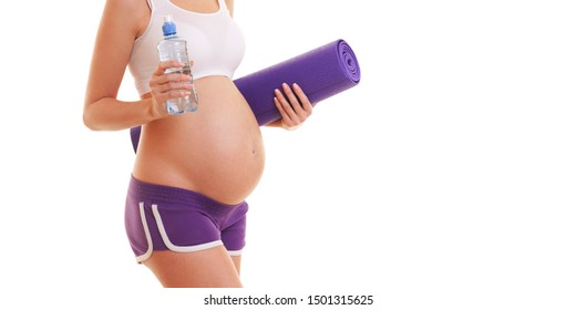 Beautiful pregnant woman with exercising mat and water on white background. Healthy lifestyle. Motherhood, pregnancy, people and expectation concept. Pregnant woman expecting baby